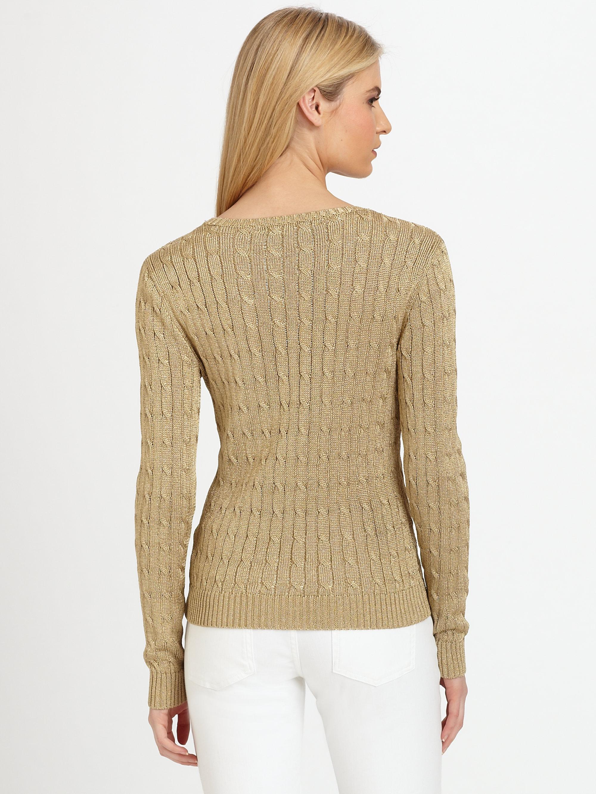 Ralph lauren black label Metallic Cableknit Sweater in Metallic | Lyst