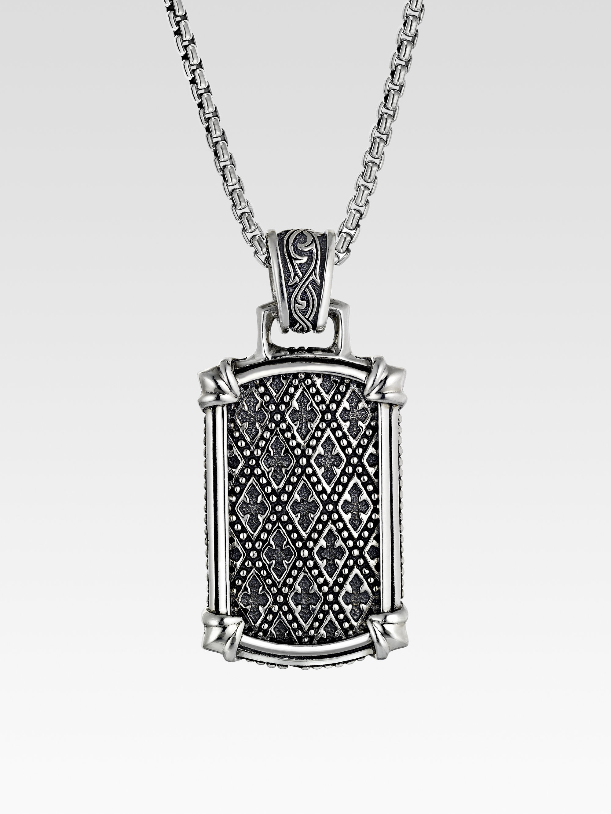 Scott kay silver dogtag necklace in metallic for men lyst for Kay com personalized jewelry