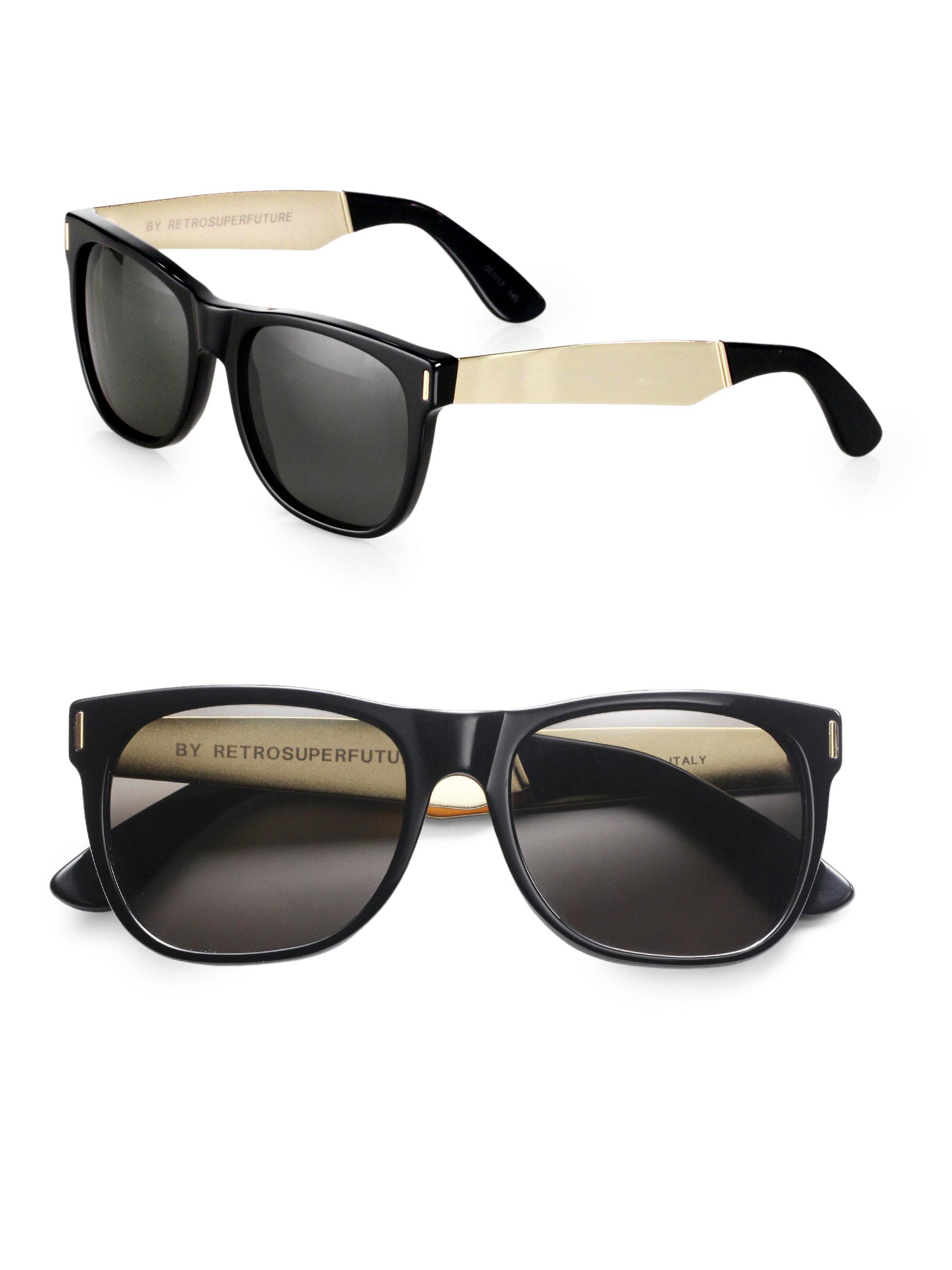 retrosuperfuture basic wayfarer sunglasses in black for