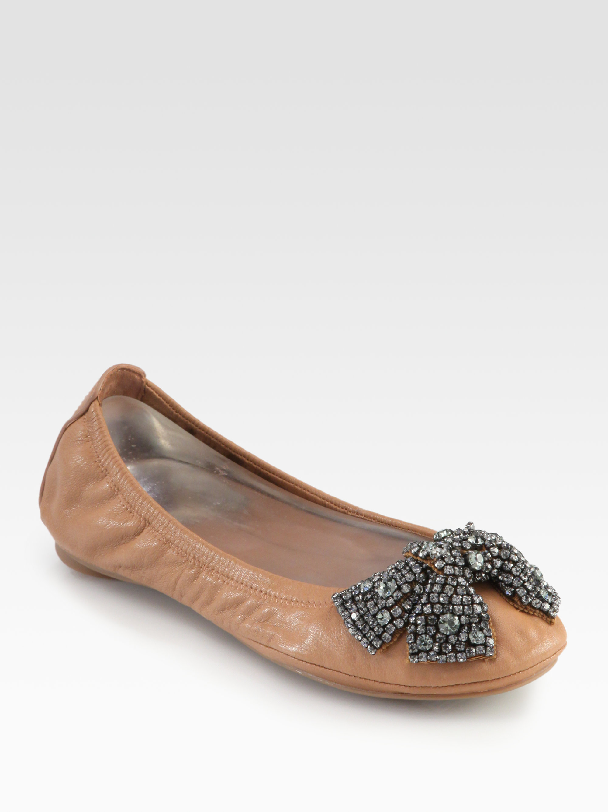 5d2ecd92166e Lyst - Tory Burch Eddie Leather Crystal Bow Ballet Flats in Brown
