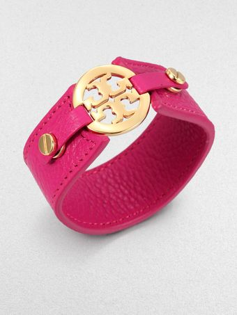 Tory Burch Logo Snap Leather Bracelet - Lyst