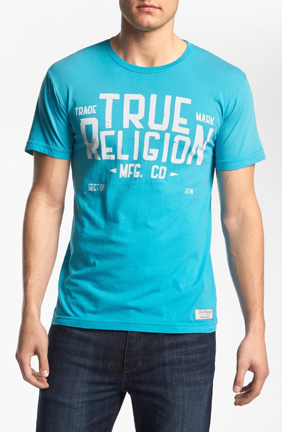 True religion blue collar tshirt in blue for men end of for Aqua blue color t shirt