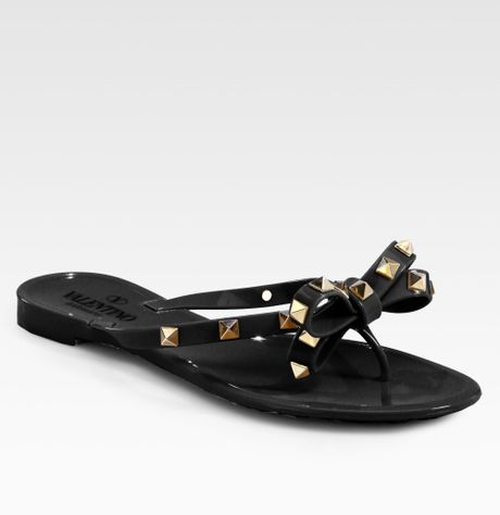 Valentino Rockstud Jelly Sandals In Black Lyst