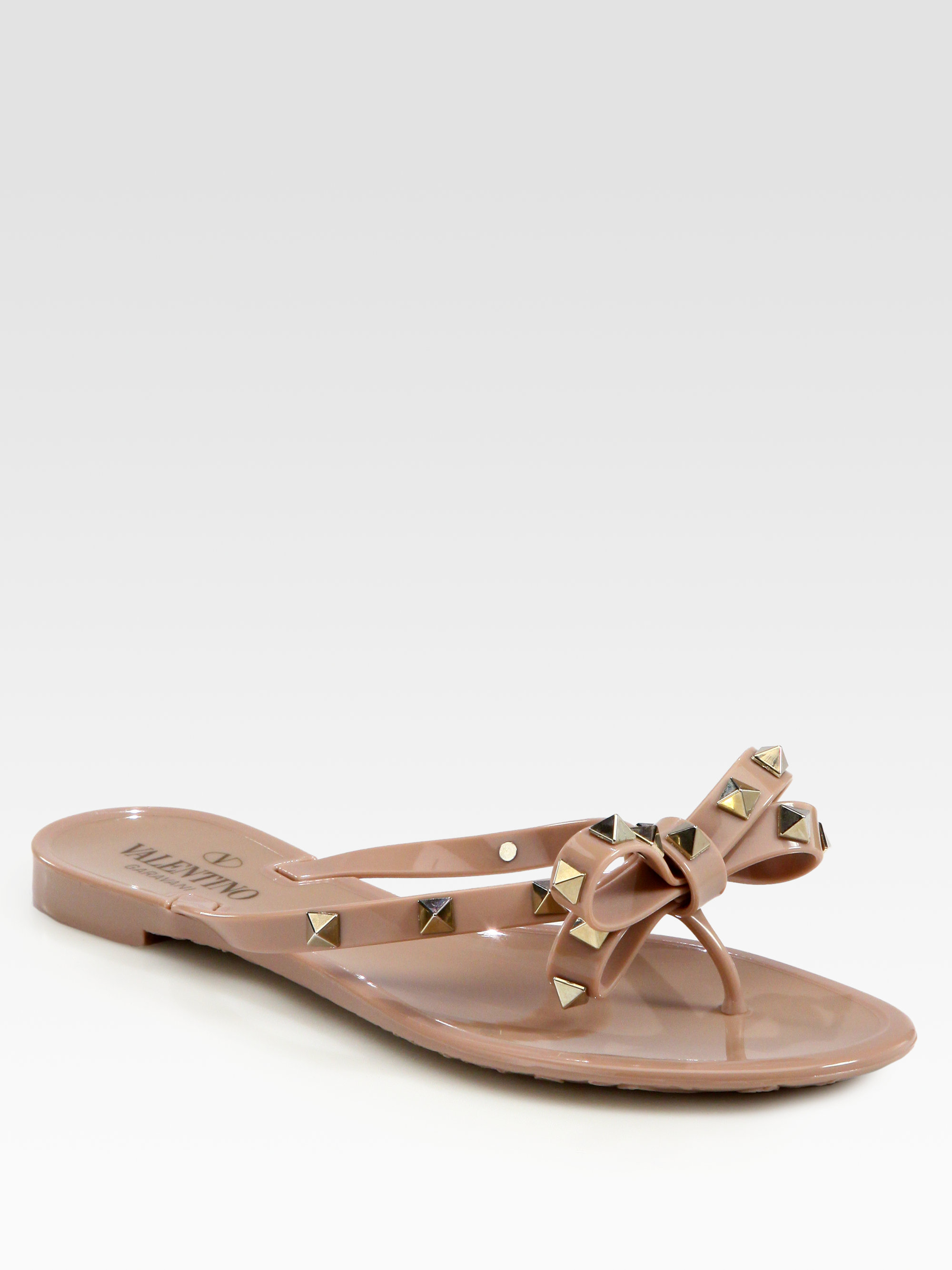 8c459e83025777 Lyst - Valentino Rockstud Studded Thong Bow Jelly Flip Flops in Black