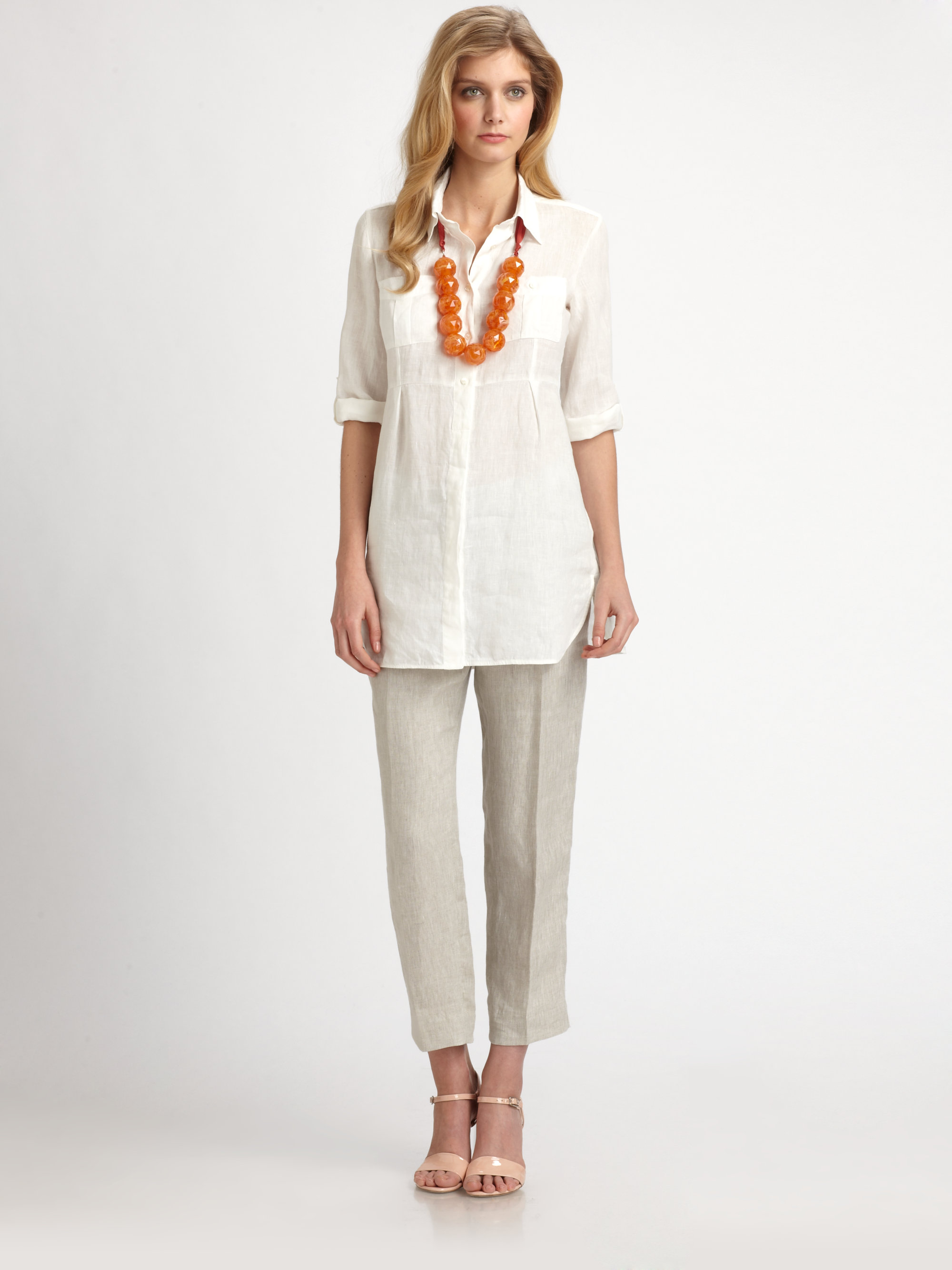 Weekend By Maxmara Linen Pants In Natural Lyst