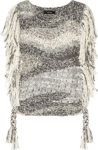 Isabel Marant Agora Fringed Silk and Linenblend Poncho Sweater - Lyst