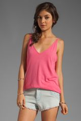 Michael Stars V Neck Cami in Pink - Lyst