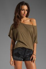 Michael Stars Short Sleeve Off Shoulder Dolman Top in Sage - Lyst