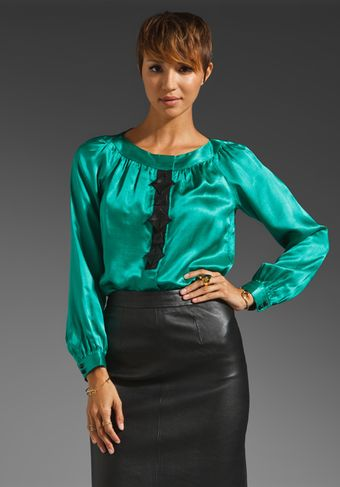 Milly Silk Fracine Origami Blouse in Clover - Lyst