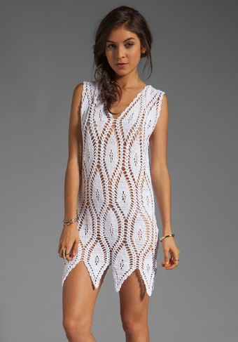 Mink Pink Anina Crochet Beach Dress in Cream - Lyst