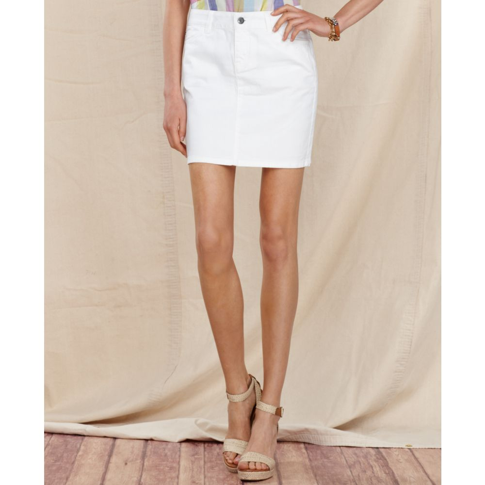 9a78ccfbec2 Lyst - Tommy Hilfiger Skirt Denim Fitted Mini Classic White Wash in ...