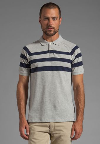Vince Pique Striped Polo in Heather Steel - Lyst
