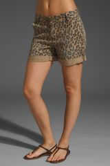 Current/Elliott Twill Leopard Roll Shorts in Camel - Lyst