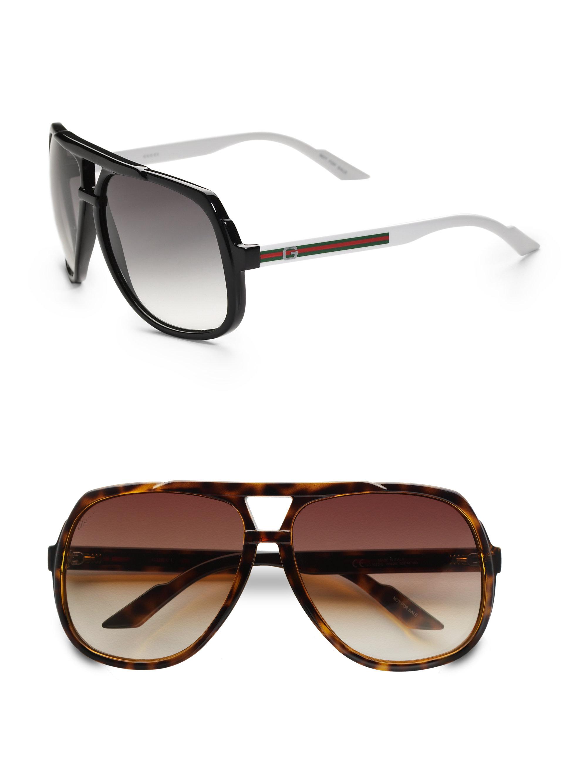 98656d1f65b Lyst - Gucci Plastic Aviator Sunglasses in Brown for Men