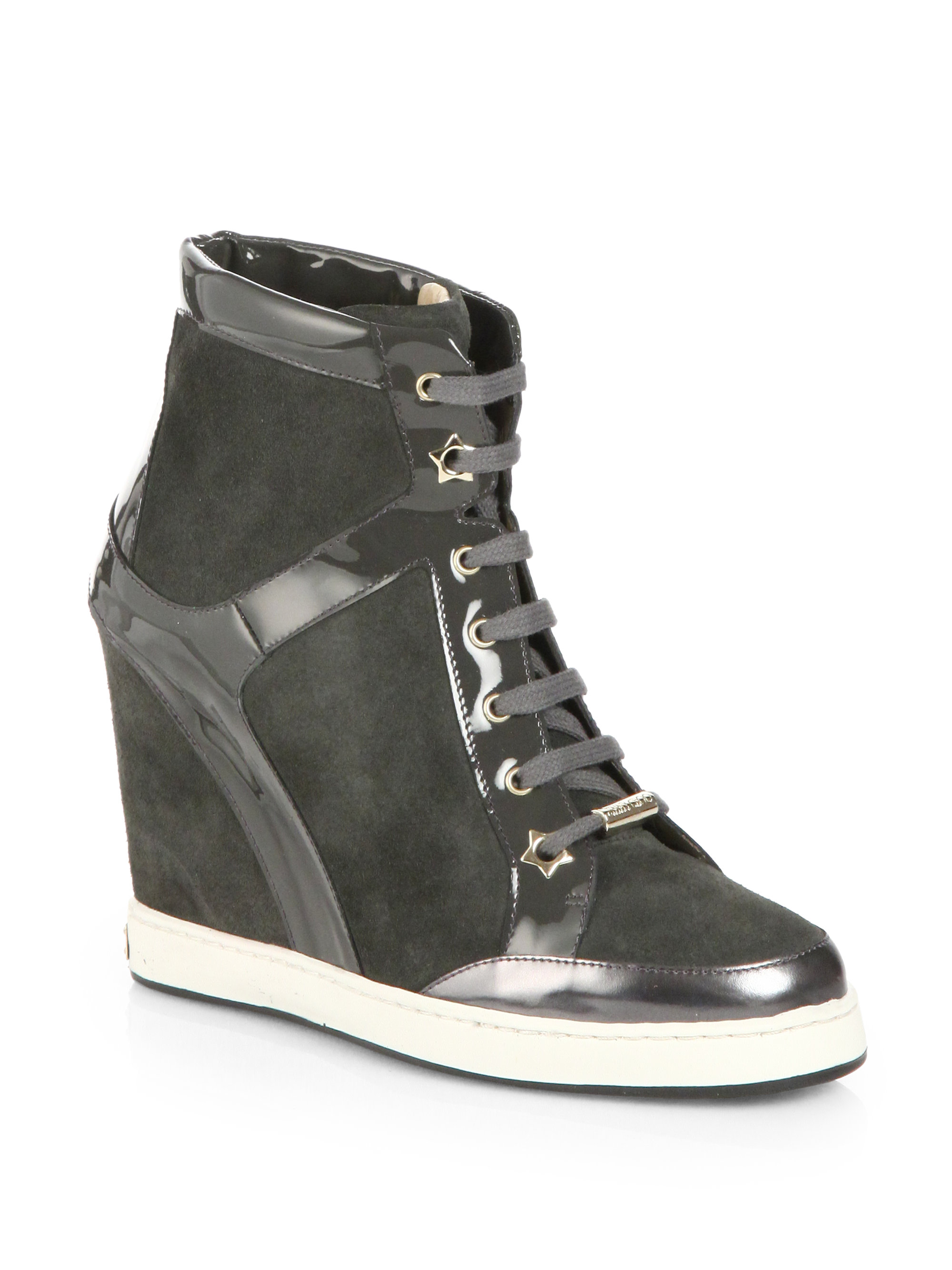 jimmy choo panama suede lace up wedge sneakers in gray lyst