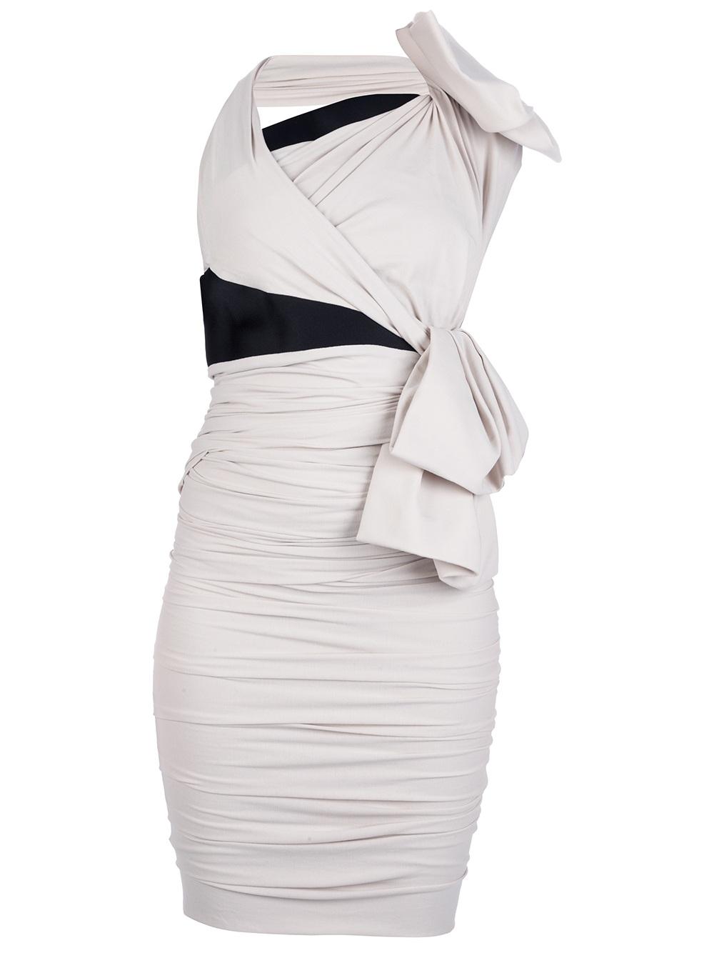 Lanvin Fitted Wrap Dress In White Beige Lyst