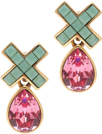 Oscar de la Renta Swarovski Pave X Drop Earrings - Lyst