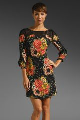 Plenty By Tracy Reese Nosegay Floral Lace Inset Shift Dress in Black Multi - Lyst