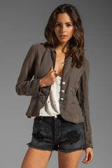 Sanctuary Linen Peplum Jacket in Olive - Lyst