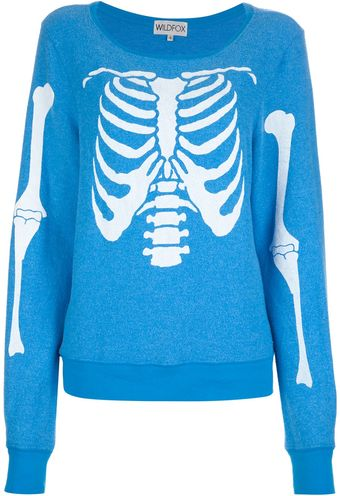 Wildfox Skeleton Print Sweater - Lyst