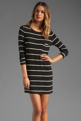 BCBGMAXAZRIA Long Sleeve Striped Shirt Dress in Black and Ivory - Lyst