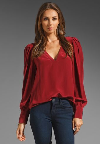 BCBGMAXAZRIA Long Sleeve Blouse in Merlot - Lyst
