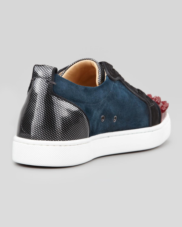 4025e7a2e84d Lyst - Christian Louboutin Louis Junior Spikes Low-top Sneaker in Blue for  Men