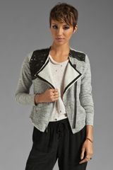 Dolan Crop Jacket with Leather Trim in Grey - Lyst