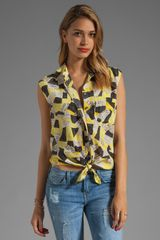 Equipment Diem Patchwork Snake Tie Front Blouse in Blazing Yellow - Lyst