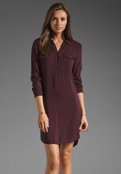 James perse easy henley shirt dress in eggplant in red for James perse henley shirt