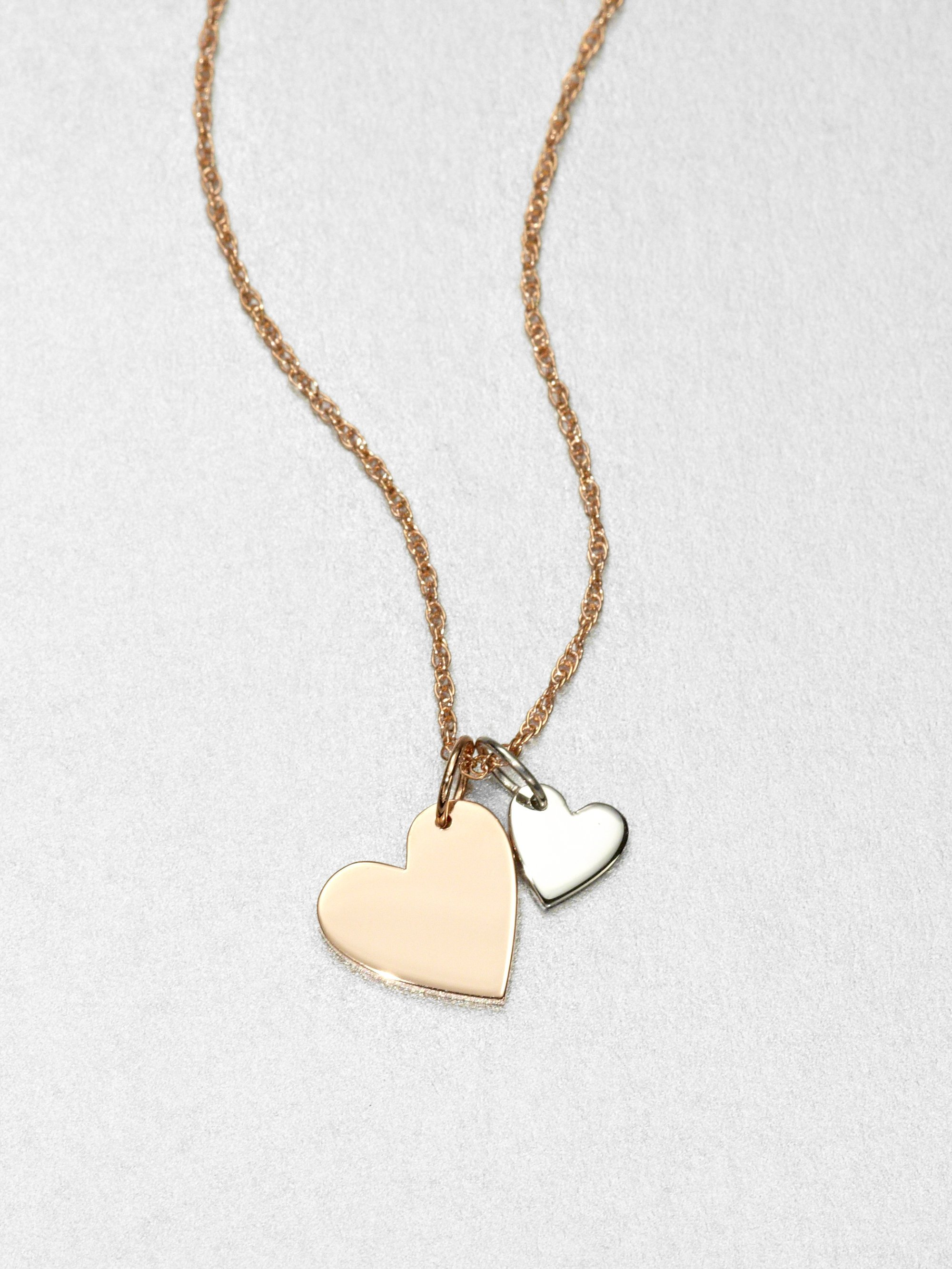 tone over gold plate products two necklace silver puff heart sterling