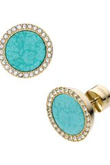 Michael Kors Pave Turquoise Slice Earrings - Lyst