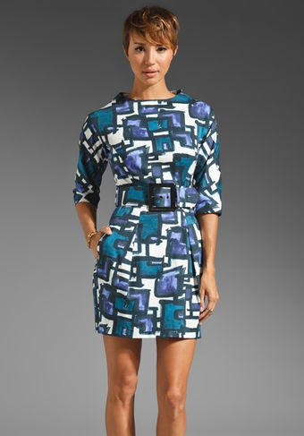 Milly Marion Belted Dress in Helio Multi - Lyst