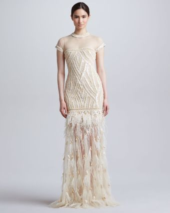 Naeem Khan Beaded Embroidered Feather Skirt Gown - Lyst