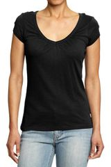 Old Navy Ruched V Neck Tees - Lyst
