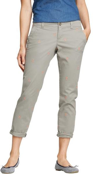 Old Navy Embroidered graphic Boyfriend Skinny Khakis - Lyst
