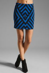 Rvn Graphic Stripe Mini Skirt - Lyst