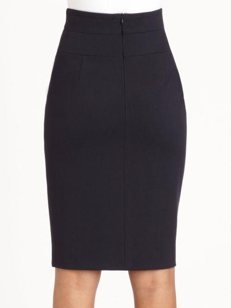 akris punto stretch knit pencil skirt in blue navy lyst