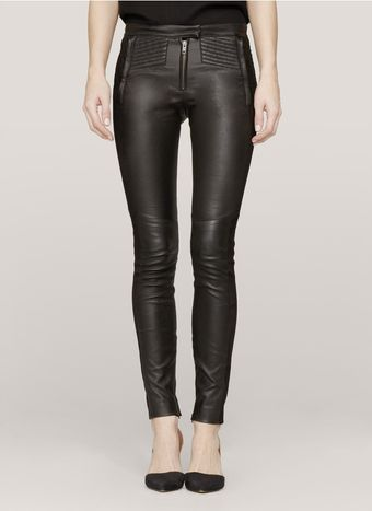 A.L.C. Suede Detail Leather Leggings - Lyst