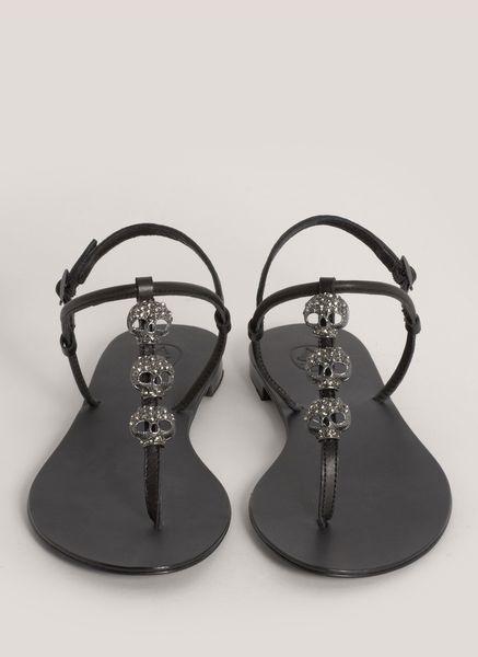 Ash Marcel Crystal Embedded Skull Sandals In Gray Ash Lyst