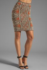 BCBGMAXAZRIA Pencil Skirt in Coral Reef Combo - Lyst