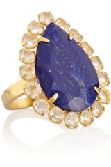 Bounkit Gold Plated Quartz and Lapis Lazuli Ring - Lyst
