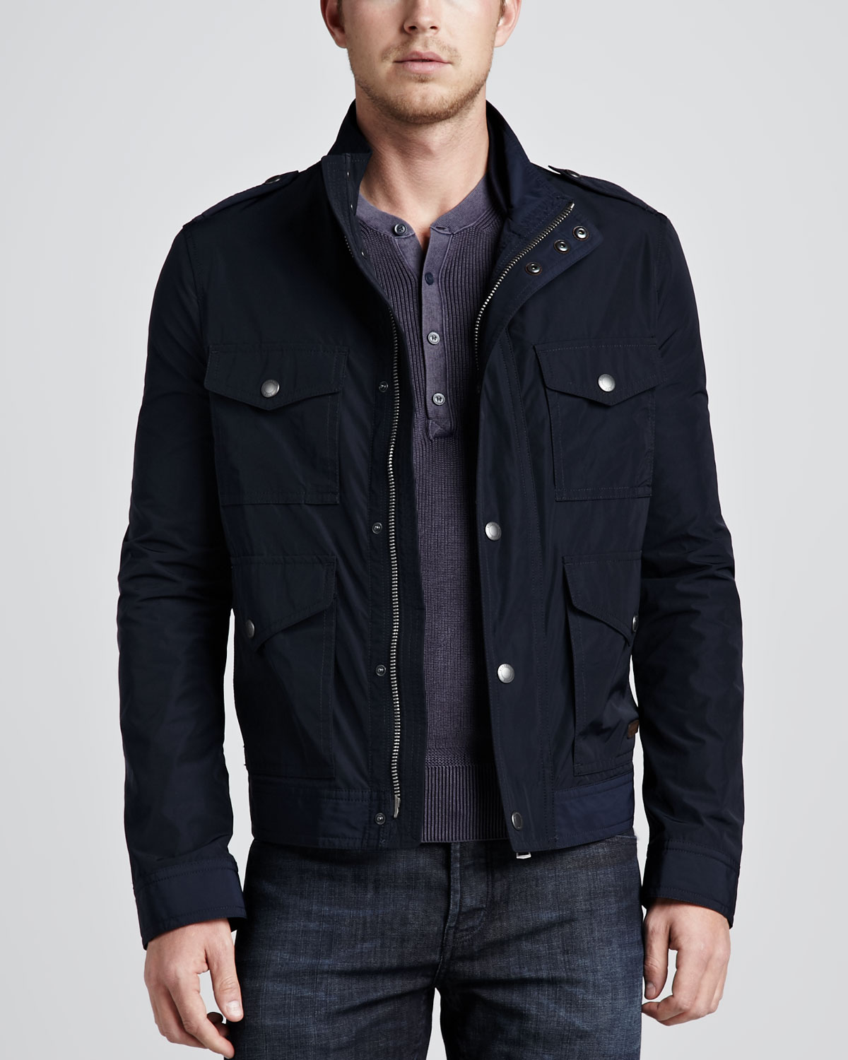 Lyst Burberry Brit Four Pocket Field Jacket In Blue For Men