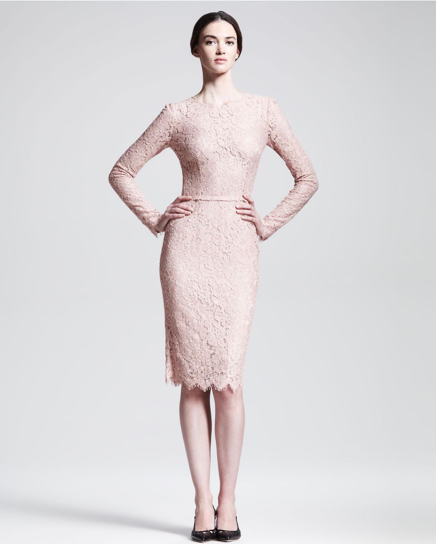 757c9c329fb Lyst - Dolce   Gabbana Longsleeve Belted Lace Dress in Pink