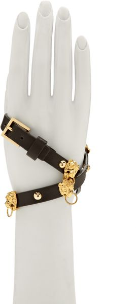 Fallon Braided Leather Bracelet with Pierced Lion Heads - Lyst