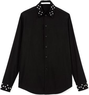 Givenchy Cotton Button Up Shirt with Embellished Collar and Cuffs - Lyst