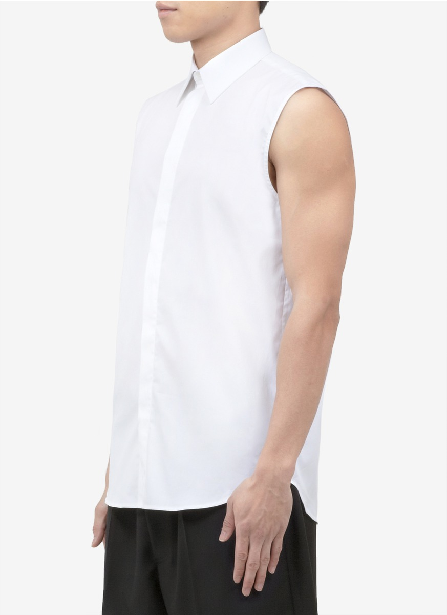 Lyst Givenchy Sleeveless Collared Shirt In White For Men