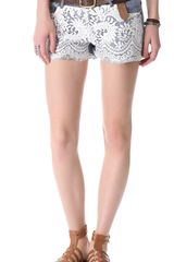 Haute Hippie Lace Over Denim Shorts - Lyst