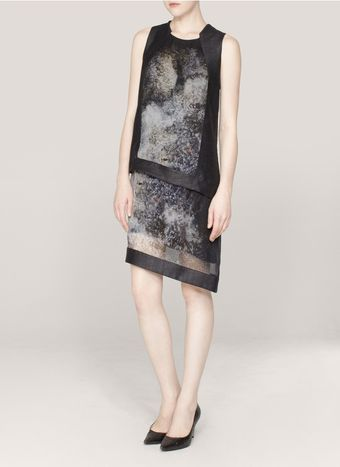 Helmut Lang Oxideprint Chiffon Panel Dress - Lyst