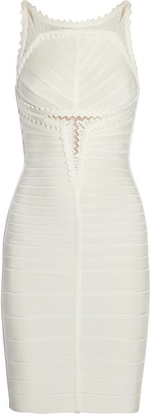 Hervé Léger Meshdetailed Bandage Dress - Lyst